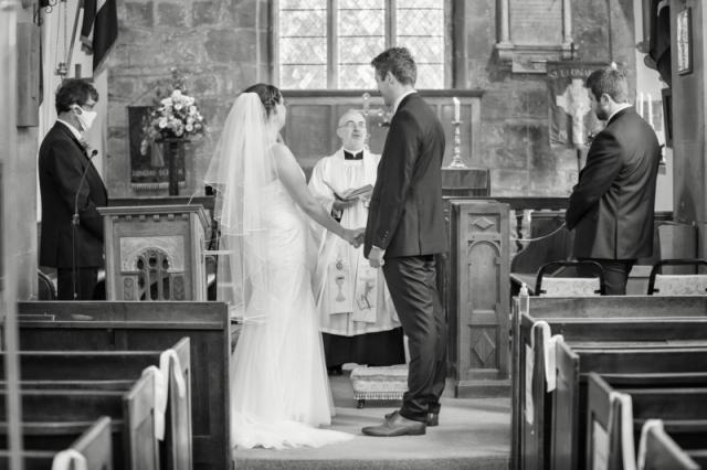 Black & White Wedding photography during wedding service at St Leonard's Church