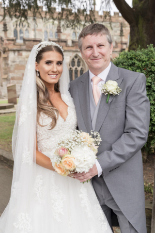 Classic portrait of bride with her dad before wedding at Knowle Church