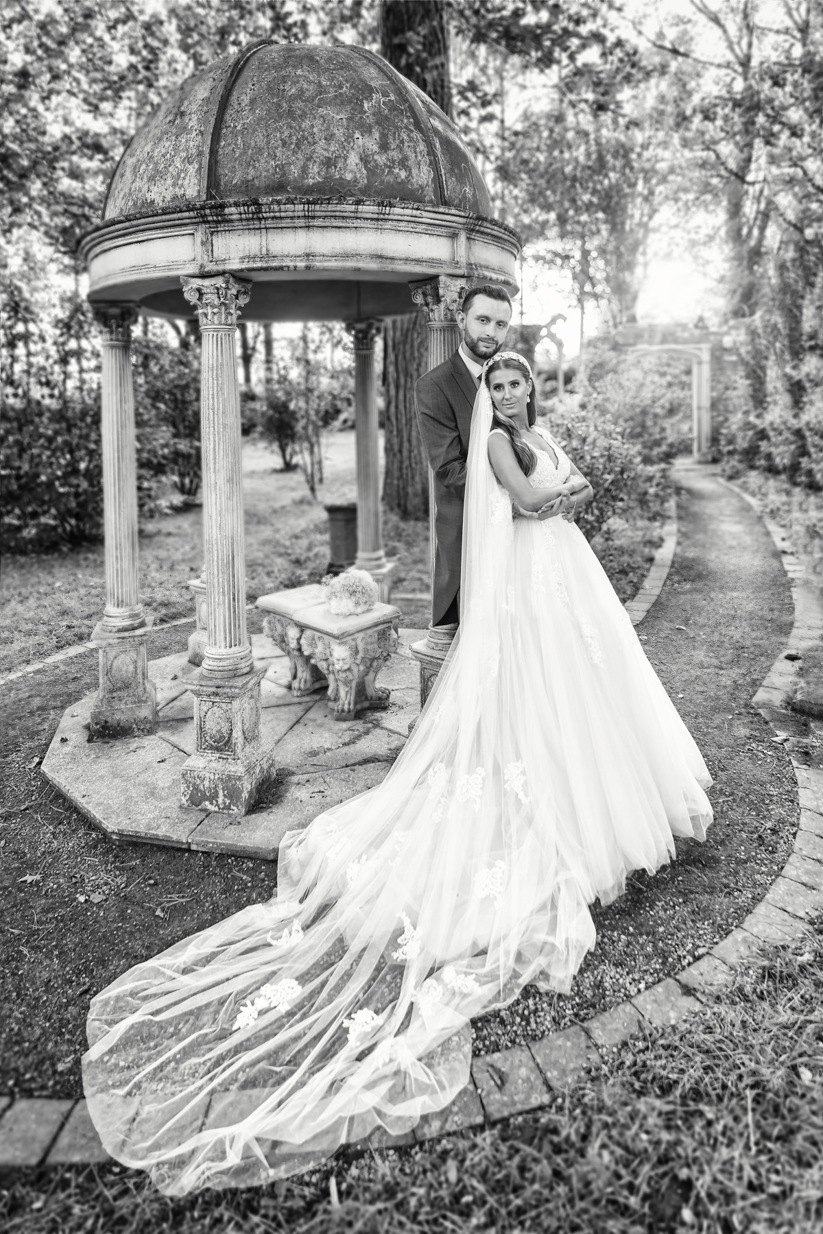 Moxhall wedding photography. Bride and Groom portrait at Moxhall Hall using the Brenizer method