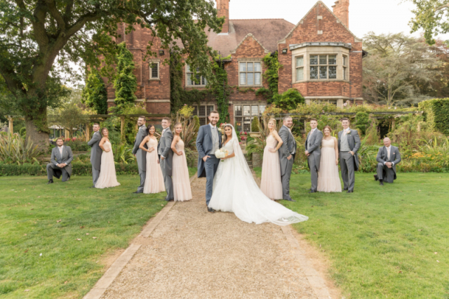 Contemporary photo of bridal party at Moxhall hall