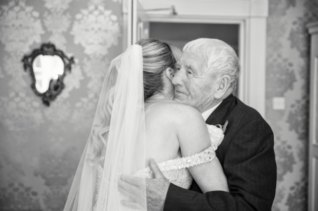 emotional moment when grandfather 1st sees & hugs her granddaughter before the wedding