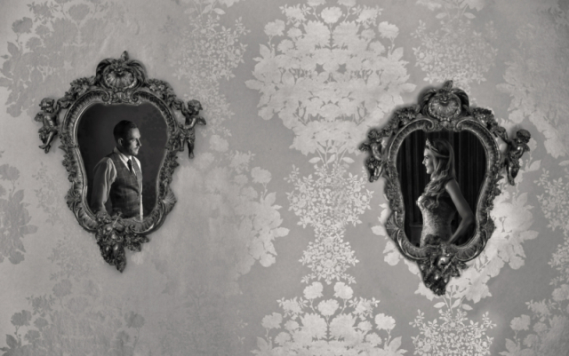Contemporary portrait of bride & groom's reflections in mirrors at Warwick house