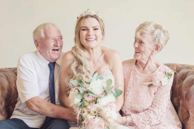 Bride with her Grandmother & Grandad at warwick house