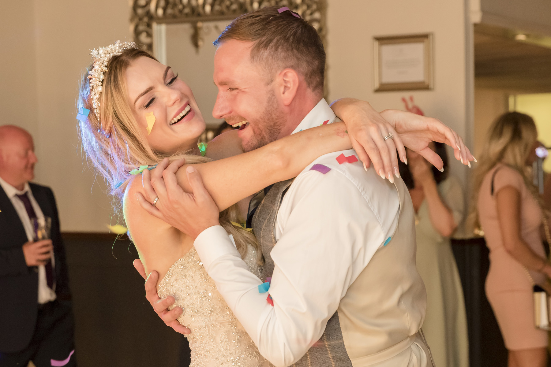 Bride & Groom laughing and enjoying their 1st Dance - at warwick house