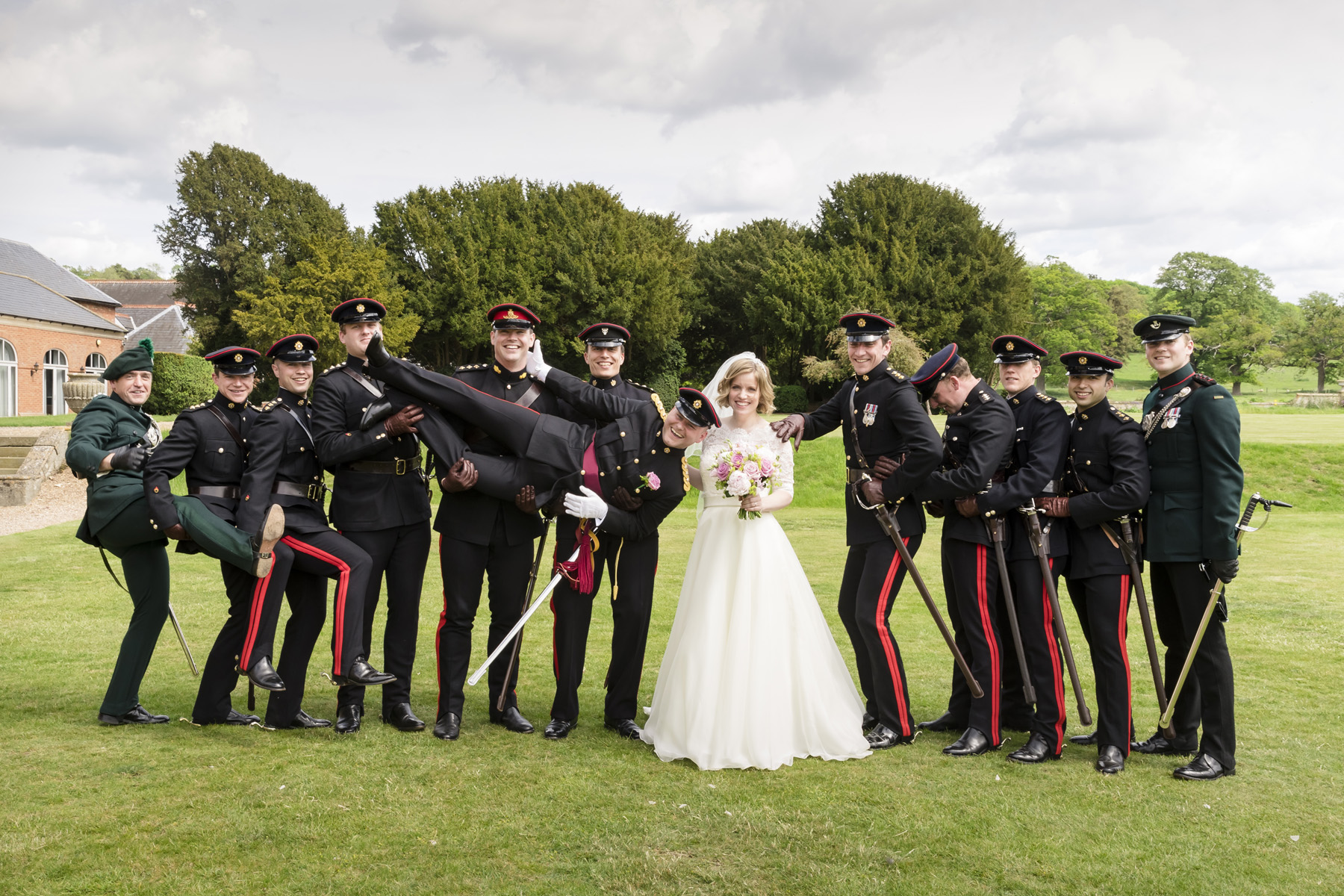 Fun military wedding wedding at Walton Hall