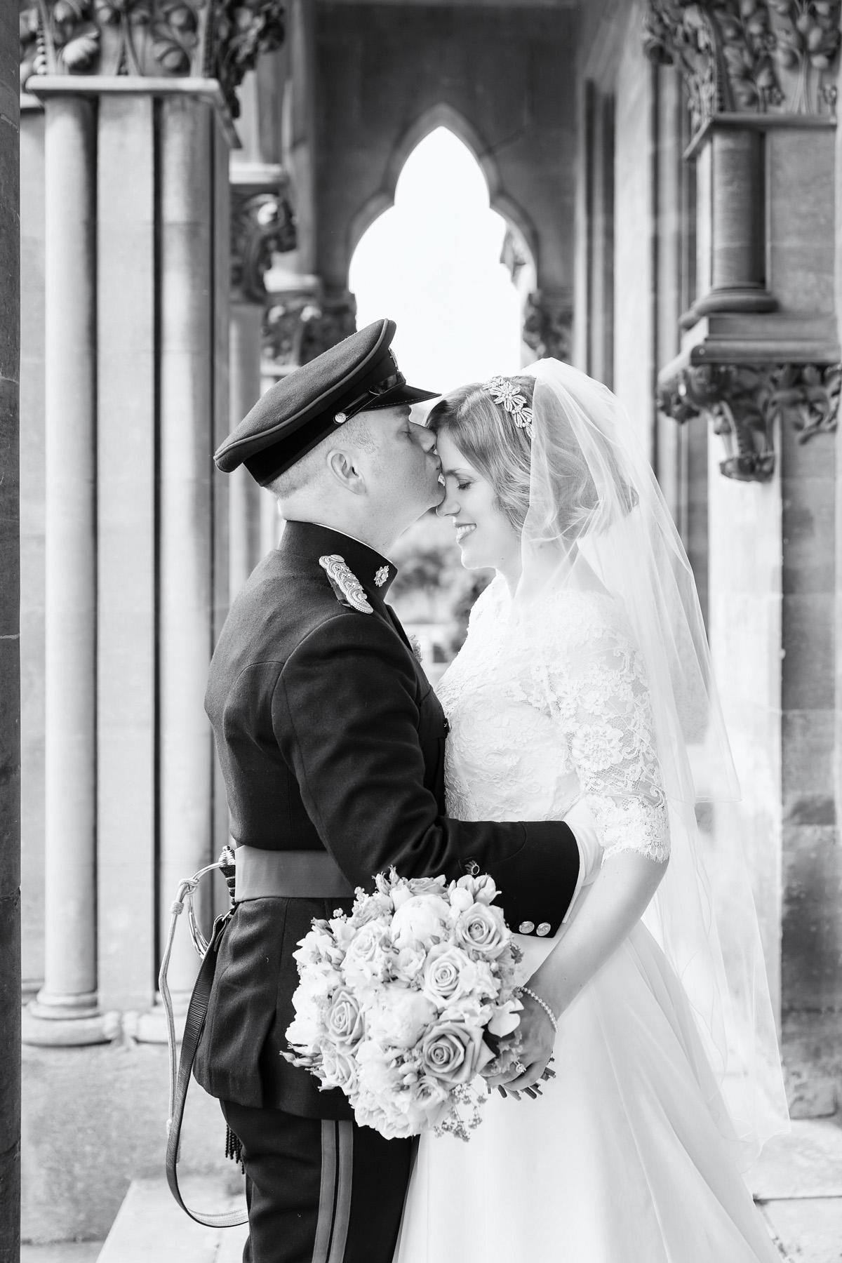 Black & White portrait of Bride & Groom in military uniform - at Walton Hall